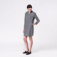 Lora Wool Dress Grey Elementy #dress #grey #wool #mini #elementy #minimal #classic #polishfashion