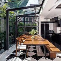 Stunning kitchen/dining space with glazed walls and ceiling. Black and white til. - Stunning kitchen/dining space with glazed walls and ceiling. Black and white tiles. Black kitchen c - Sweet Home, Glazed Walls, Scandinavian Apartment, Scandinavian House, Scandinavian Design, House Extensions, Kitchen Extensions, Exterior Design, Interior Architecture