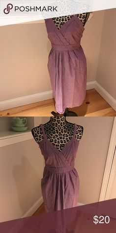 Linen summer dress from Target Beautiful purple linen summer dress. The material has a nice linen feel with a pretty sheen to it. Adjustable straps knee length and a stretchy waist and make this perfect for summer! Never worn non smoking home. Merona Dresses Midi