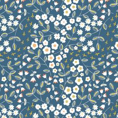 Ditsy Blue fabric by pattysloniger on Spoonflower - custom fabric