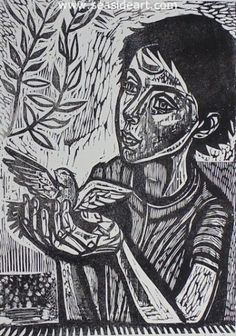 Hope is an original wood cut by Irving Amen. The art image is 16 3/4″ x 12″, it is titled, signed and numbered A/P in pencil, unframed.