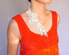cream lace gold necklace // floral chain necklace // by LaceFancy