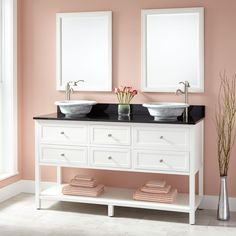 "60"" Robertson Double Vessel Sink Vanity - White"