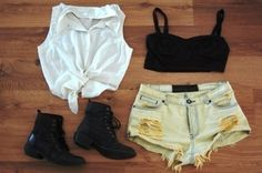 cutoff shorts, bralette, cropped top and combat boots