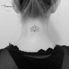 Tattoos 44 Tiny Minimalist Tattoo Designs by Nena Tattoo Lotus Tattoo by Nena_Tattoo Mini Tattoos, Body Art Tattoos, Small Tattoos, Tattoos For Guys, Tattoos For Women, Sleeve Tattoos, Nape Tattoo, 16 Tattoo, Tattoo Fonts