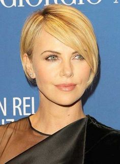 Charlize Theron Short Cropped Length Hairstyles 2015 for Fine Hair