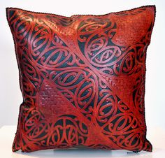Maori Design Patrick James Kura Gallery New Zealand Design Carved Leather Suade Kowhaiwhai Cusion 3