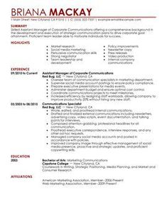 sample of management resume