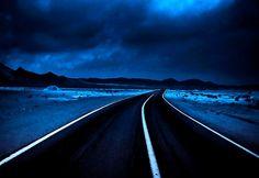 DESERTED ROAD - blue, desert, night, road