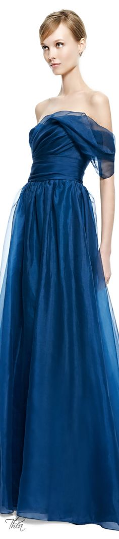 Marchesa ● Fall 2014, Teal Draped Organza Gown §~ Colour! Lush but Elegantly Understated ~