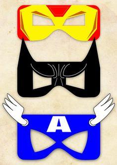 Superhero Mask Cut-out  - Iron Man, Batman, Captain America - Choose One/Etsy - Like this Batman