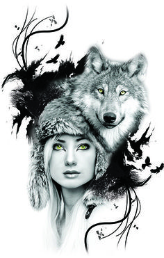 PİNOZEY Wolves And Women, She Wolf, Photoshop, Graphic Design, Art, Photomontage, Art Background, Kunst, Performing Arts