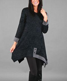 Another great find on #zulily! Dark Gray Button-Accent Handkerchief Tunic - Plus #zulilyfinds