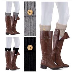 Solid Knit Boot Cuffs Love this trendy look of knit boot cuffs with button detail. Looks great finishing off an outfit with leggings, tights or skinny pants. Too cute. Plus they serve a purpose of keeping you warm. Colors black, khaki or grey. Each sold separately Threads & Trends Accessories Hosiery & Socks