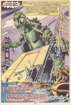Godzilla on the rampage in San Francisco. Herb Trimpe artwork. #Godzilla #SanFrancisco #HerbTrimpe