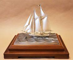Sterling silver 960 Yacht miniature by Seki Takehiko - Japan