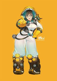 :d alternate costume artist name bangs beekeeper mei black-framed eyewear boots breasts brown eyes brown footwear brown hair canister character name commentary request contrapposto drone elbow gloves full body glasses gloves hand on hip hand up helme Overwatch Comic, Overwatch Fan Art, Character Concept, Character Art, Character Design, Character Inspiration, Mei Ling Zhou, Look At My, Overwatch Mei