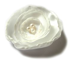 white rose bridal flower brooch by ayawedding on Etsy, $11.00