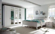 """Araktivní ložnicový nábytek v nadčasovém designu v jemné barevné kombinaci bílé pinie Anderson a dekoru """"taupe"""" (tmavošedá). Jednotlivé elementy - šatní skříně, postele, noční stolky i komody jsou samostatně prodejné a lze z nich vytvořit vlastní sestavu. Entryway Bench, Lima, Furniture, Design, Home Decor, Bed, House, Entry Bench, Hall Bench"""