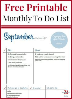 September To Do Checklist Free Printable to organize your home and life month by month. Fall Cleaning Checklist, To Do Checklist, Cleaning Hacks, Printable Activities For Kids, Free Printables, Getting Organized At Home, Daily Planner Printable, How To Get, How To Plan
