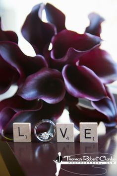 Purple calla lillies, gorgeous ring, scrabble tiles = LOVE