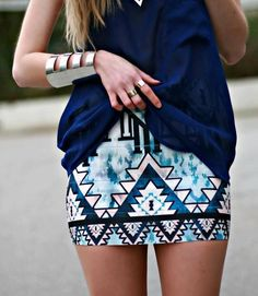 Blue geometric skirt.