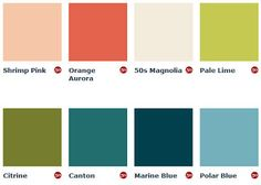 Mid-Century Paint Colors from England | Via: Mad for Mid-Century #mcm # paintswatches