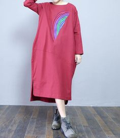 Cotton loose long sleeved dress linen Leisure Long Maxi Dress in Red/ Black