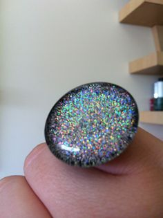 Holographic Glitter Polish over Black