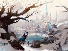 Art by Allen Song Fantasy Concept Art, Fantasy Life, New Fantasy, Medieval Fantasy, Fantasy World, Anime City, Fantasy Art Landscapes, Fantasy Setting, Environment Concept Art