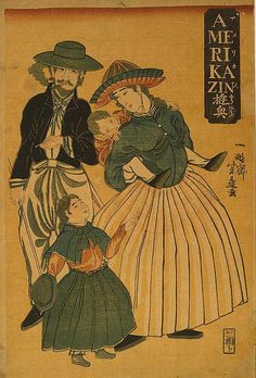 "A selection of Yokohama-e (literally ""Yokohama pictures""), a type of ukiyo-e Japanese woodblock print which focused on depicting the foreigners who flooded through Yokohama during the and in particular North Americans. Old Images, Old Pictures, Vintage Images, Vintage Art, Family Painting, Japanese Illustration, Japanese Prints, Japanese Art, Japanese Painting"
