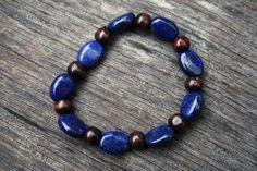 Lapis Lazuli & Wooden Beads Elastic Bracelet by NaturallyEnigma on Etsy