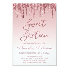 Rose Gold Sparkle Glitter Sweet Sixteen Birthday Invitation #Ad , #Sponsored, #Sweet#Glitter#Birthday#Sixteen Sparkles Glitter, Gold Sparkle, Sixteenth Birthday, Glitter Birthday, Sweet 16 Birthday, Create Your Own Invitations, Wedding Announcements, Sweet Sixteen, Zazzle Invitations