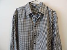 Ellie Tahari Mens Black Gingham Plaid Button Front Shirt SZ L Mint Quick Ship #EllieTahari #ButtonFront