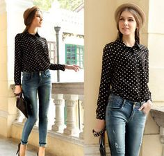 Navy Fashion Womens Shirt Polka Dots Chiffon Vintage Blouse Long Sleeve Tops M 5 | eBay the outfit ideas in the pictures!! Denim with poka dot