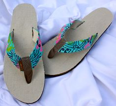 The Pink Gator Lilly Inspired Custom Hand Painted Rainbow Flip Flops