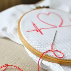 Stickvorlage für Anfänger: Herzen sticken / embroidery pattern heart for beginners made by Hallodribums via DaWanda.com