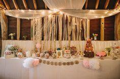 Terry Fox wedding dress, Donna Crain headpiece, quirky and fun barn wedding, Craig and Kate Photography