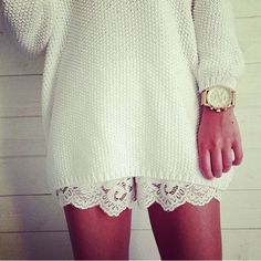 love this! I've never thought of pairing my lace shorts with a sweater! Genius! I have black and white leave shorts and TONS of sweaters! Perfect!