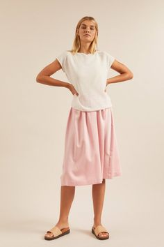 LANIUS Rock Aus Tencel Modal Mit Baumwolle skirt skirt skirt skirt outfit skirt for teens midi skirt Midi Rock Outfit, Midi Skirt Outfit, Skirt Outfits, Fall Outfits, Dress Skirt, Pullover, Models, Sweater Outfits, Everyday Outfits