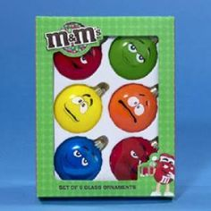 Kurt Adler Glass M&M Candy Ornament, Set: This glass ornament set features the faces of your favorite M & M's characters. Includes 2 red and 1 each of yellow, green and blue M & M's. Glass Christmas Ornaments, Christmas Balls, Christmas Candy, Christmas Time, Christmas Crafts, Glass Candy, Chocolates, Outdoor Christmas Decorations, Holiday Decor