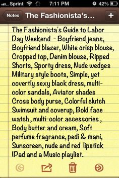 Traveling this Labor Day weekend or enjoying a staycation and you don't know what to pack. Here is The Fashionista's Guide to Labor Day Weekend. ... Have a safe and wonderful Labor Day Weekend. #notyouraveragemodel