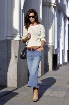 Denim skirt by Mother, Margiela boots