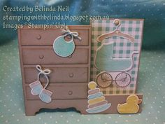 """Stampin' it up with Belinda: """"Nappy"""" Baby Shower Invitations, Side Step Card, Spinner Card & Baby Block Step cards."""