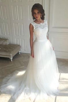 Customized Splendid Prom Dresses 2018 Wedding Dresses Sleeveless Lace White A-Line Sweep Train Wedding Dress White Lace Wedding Dress, Open Back Wedding Dress, Wedding Dress Sash, Long Wedding Dresses, Elegant Wedding Dress, Perfect Wedding Dress, Bridal Lace, Bridal Dresses, Wedding Gowns
