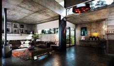 betonbau modern mit sichtbetonwänden und decken-modenrs wohnzimmer interior