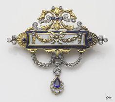 Louis XVI of France style brooch, ca. 1880-1900, sapphires, old European cut diamonds, rose cut diamonds, enamel, 18 carat gold and silver, 3.6 x 3.2 cm, 7g