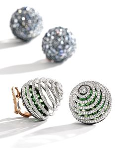 Pair of Platinum, Rose Gold, Silver, Demantoid Garnet and Diamond Earclips, JAR, Paris   Lot   Sotheby's