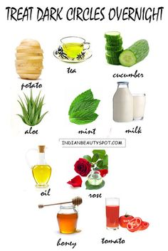 10 home remedies to treat dark circles overnight Given below are 10 home remedies to diminish dark circle around your eyes. The natural treatments can be used overnight to not only lighten dark circles but . Natural Treatments, Natural Remedies, Beauty Secrets, Beauty Hacks, Diy Beauty, Tips Belleza, Beauty Recipe, Belleza Natural, Health And Beauty Tips