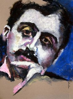 Marcel Proust ~  Soft pastel on pastel card by Rosemay Dahan